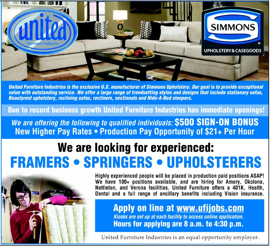 Hiring For Upholsterers At United Furniture Industries Tg In